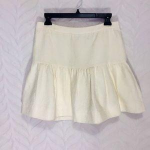J. Crew Pleated Skirt Cream Size 6 NEW